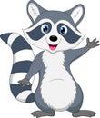 Cute raccoon cartoon waving hand