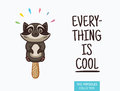 Cute raccoon popsicle illustration. Vector ice cream Royalty Free Stock Photo