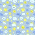 Cute rain sky pattern. Smiling happy sun, thunderclouds with lightning and rainy day clouds seamless vector illustration Royalty Free Stock Photo