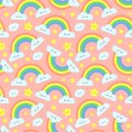 Cute rainbow clouds seamless pattern. Pink starry sky, funny rainbows and happy cloud cartoon vector illustration