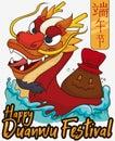 Cute Realgar Wine Bottle over Dragon Boat for Duanwu Festival, Vector Illustration