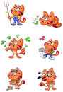 Cute red cat nature vector set a Stock Photography