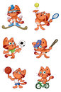 Cute red cat sports set a Royalty Free Stock Photo