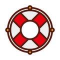 Cute red lifebuoy icon cartoon Royalty Free Stock Photo