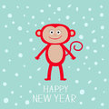 Cute red monkey on snow background. Happy New Year 2016.  Baby illustration. Greeting card  Flat design Royalty Free Stock Photo