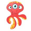 Cute red octopus alien monster cartoon. Halloween vector illustration isolated. Royalty Free Stock Photo