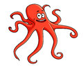 Cute red octopus with curling Stock Photography