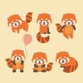Cute red panda set.