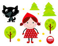 Cute Red Riding Hood, Wold & Accessories, Icons Stock Photos