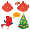 Cute red roosters and christmas spruce tree in cartoon style, 2017 new year symbol.  icons, design elements Royalty Free Stock Photo