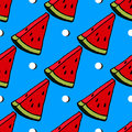 Cute red watermelon slice design on striped blue background, seamless, pattern, wallpaper Royalty Free Stock Photo