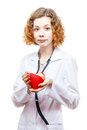 Cute redhead doctor in lab coat with heart isolated on white background Royalty Free Stock Images