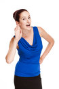 Cute redhead portrait of a funny gesturing gorgeous woman Royalty Free Stock Photos