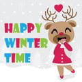 Cute reindeer girl is happy in winter time vector cartoon illustration for Christmas card design