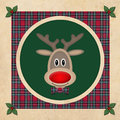 Cute reindeer in green circle with red plaid pattern, on old paper background, christmas card design Royalty Free Stock Photo