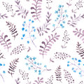 Cute repeat pattern with naive flowers and leaves. Watercolor Royalty Free Stock Photo