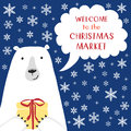 Cute retro banner with funny cartoon character of polar bear with speech bubble