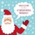 Cute retro banner with funny cartoon character of Santa Claus with speech bubble