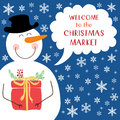 Cute retro banner with funny cartoon character of snowman with speech bubble