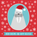 Cute retro card with funny cartoon character of seal