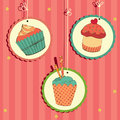 Cute retro cupcake Stock Photo