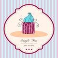 Cute retro cupcake card Royalty Free Stock Photo