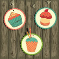 Cute retro cupcake on the string Royalty Free Stock Photo