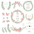 Cute retro floral bouquets and wreath Royalty Free Stock Photo