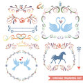 Cute retro floral set with wedding icons,doodle Royalty Free Stock Photo