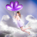 Cute Retro Pinup Girl Holding Heart Shaped Balloon Royalty Free Stock Photos