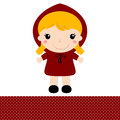 Cute retro red riding hood in kawaii style vector illustration Stock Photography