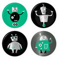 Cute retro robots badget collection Stock Photos