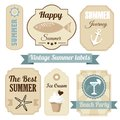 Cute retro set of summer vacation labels with anchor drink ice cream ribbons and other elements illustration Royalty Free Stock Photos