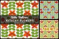 Retro Seamless Flower Pattern Background very kitschy Royalty Free Stock Photo
