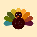 Cute retro thanksgiving turkey colorful vector cartoon illustration Royalty Free Stock Image