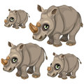 Cute rhino with green eyes. Vector animals