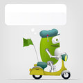 Cute robot cartoon character on grey gradient background scooter vector eps Stock Photo
