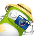 Cute robot cartoon character tourist photographer vector eps Stock Images