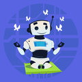 Cute Robot Happy Smiling Meditation Modern Artificial Intelligence Technology Concept