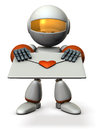 Cute robot that hold out a love letter d illustration Royalty Free Stock Photos