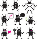 Cute robot icons black and white vector set Stock Images
