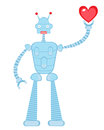 Cute robot in love Stock Images