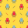 stock image of  Cute robot pattern on a yellow background.