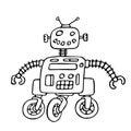 Cute robot on wheels vector illustration