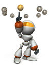 Cute robot will select the correct answer d illustration Stock Photography