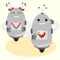 Cute robots - boy and girl
