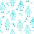 Cute robots seamless background