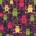 Cute robots seamless pattern nice vector texture for your background Royalty Free Stock Photos
