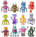 Cute robots set of twelve colorful and Royalty Free Stock Image