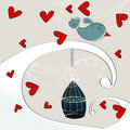 Cute romantic background with bird Royalty Free Stock Photos